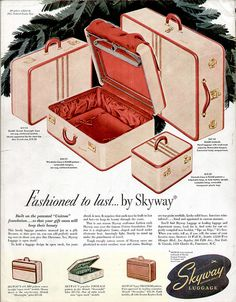 Skyway Luggage Ad, Back Cover of Holiday Mag - Dec. 1947
