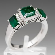 3-Stone Emerald with Diamonds Platinum Ring