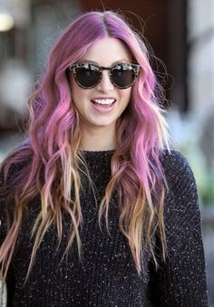 Purple Color Ombre Hairstyles 2014