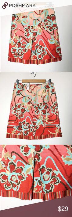 """BNWT LOFT abstract floral textured skirt 8 Such a beautiful skirt! Actually reminds me of a tropical paradise because of the pattern and combination of  gorgeous colors. Side zipper and top hook closure. 100% cotton. Approx 32"""" waist,  approx 36"""" hips, approx 21"""" length. ✅offers❌trades/PP 💰make an offer on bundles LOFT Skirts"""