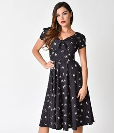 Unique Vintage 1940s Style Black Poodle Parade Knit Short Sleeve Natalie Swing Dress