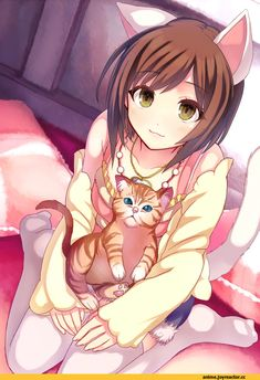 Anime girl, , brown hair, , green eyes, , cat ears, , cat tail, , neko, , short hair, , cat girl, , sitting, , kawaii