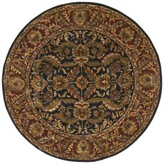 Surya A103 Ancient Treasures Blue, Red Round Area Rug