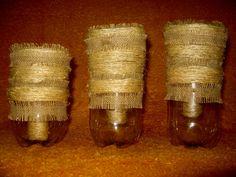 cuias de chimarão feitos com garrafas pet , base (suporte) também em garrafa pet ,revestidas com barbante de sizal bio.
