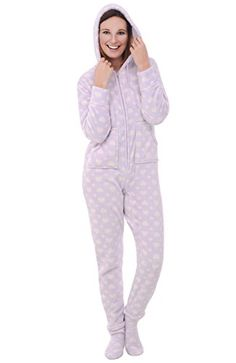 Del+Rossa+Women's+Fleece+Onesie,+Hooded+Footed+Jumpsuit+Pajamas,+Medium+Floating+Hearts+(A0322R45MD)
