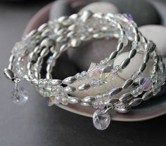 Sparkle cuff style bracelet with Swarovski crystals from DriftwoodBeach
