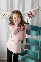 Girls Pink Heart Love Top