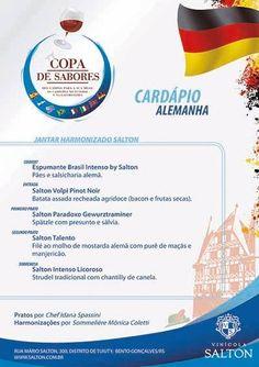 Data: 18/10/2014 Tema: Alemanha Chef: Idana Spassini Sommelière: Mônica Coletti