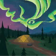 Northern Lights landscape art, a yellow tent watches the Northern Lights dance above from it's campsite.   #northernlightart #northernlight #campsite #tent #outdoorart #outdoor