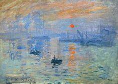 Impression soleil levant (1872–1872) // Claude Monet // Impressionnisme (post Réalisme) // Capter le fugitif, lumière retranscrite > Obsession (dû au découvertes scientifiques) // Tons chaud-froid //