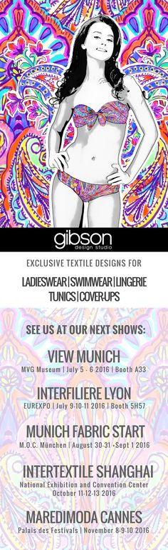 We invite you to visit us at our next shows! As one of the leading studios for fashion & textile design we are always happy and proud to present our latest textile design collections for apparel (swimwear, beachwear, lingerie, nightwear, sleepwear, womenswear, menswear, sportswear and activewear). We will be showing in 2016 at View Munich, Interfiliere Lyon, Munich Fabric Start, Intertextile Shanghai and MarediModa Cannes. Hope to see you at one of the next shows!