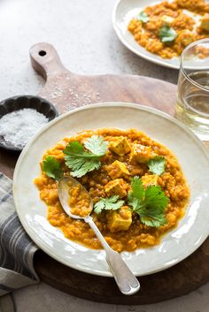 Red Lentil and Tofu Curry Curry Au Tofu, Curry Stew, Lentil Curry, Tofu Recipes, Vegetarian Recipes, Cooking Recipes, Healthy Recipes, Curry Dishes, Meal Prep
