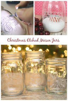 Christmas Etched Mason Jars - Laura's Crafty Life #MyBrilliantIdea #CleverGirls