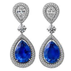 Pre-owned Steven Fox Sapphire Diamond Drop Earrings Platinum Earrings, Diamond Dangle Earrings, Sapphire Jewelry, Sapphire Earrings, Sapphire Diamond, Blue Sapphire, Diamond Jewelry, Ceylon Sapphire, Pendant Earrings