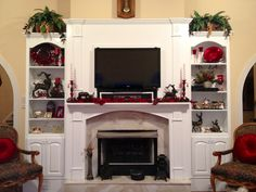 Sunroom mantle decorated for Christmas 2013 (after painting it white). Entertainment Center Wall Unit, Entertainment Room, Simple Tv Stand, White Mantle, Fireplace Built Ins, Tv Decor, Home Decor, Diy Tv, White Rooms
