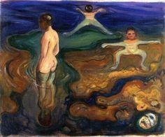 Edvard Munch ,1863-1944  : Bathing boys .expressionism , symbolism