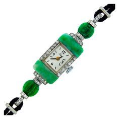 Tissot Art Deco Lady's Platinum, Jade and Diamond Bracelet Watch | From a unique collection of vintage wrist watches at http://www.1stdibs.com/jewelry/watches/wrist-watches/