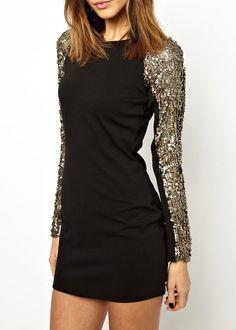 Sleeve Golden Sequins Mesh Splice Pleated Long sleeve Black Round neck Back Zipper Dress