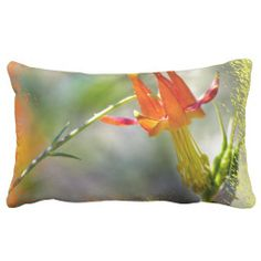 Crimson Columbine Flame edge Throw Pillow from Florals by Fred #zazzle #gift #photogift