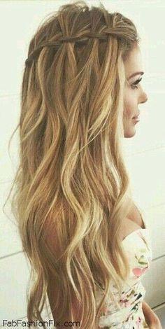 Loose waterfall braid for summer hair inspiration. #braid #braided #waterfall (best braiding hair products)