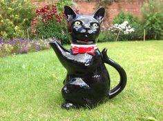 Vintage Black Cat Ornament Tea Pot - Staffordshire Potteries, England, Tony Woods 1989s