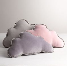 Washed Velvet Decorative Pillow, cloud, gray, $30