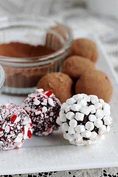 I will throw this in my box of goodies for Christmas gifts! Hot Chocolate Truffles - drop into a cup of hot milk and stir! Köstliche Desserts, Delicious Desserts, Dessert Recipes, Holiday Baking, Christmas Baking, Homemade Christmas, Holiday Treats, Holiday Recipes, Christmas Recipes