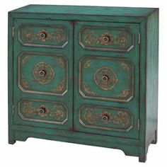 2-door cabinet in teal with hand-painted floral details.