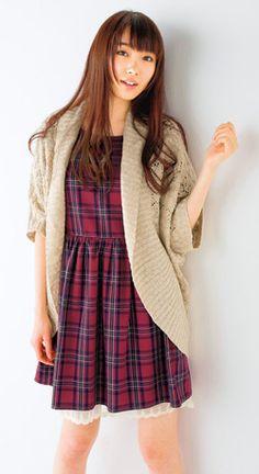 Dolman sleeve knit cardigan (flying squirrel), Plaid one-piece dress, Cupop 2014 Autumn #fashion #girl #japan #model