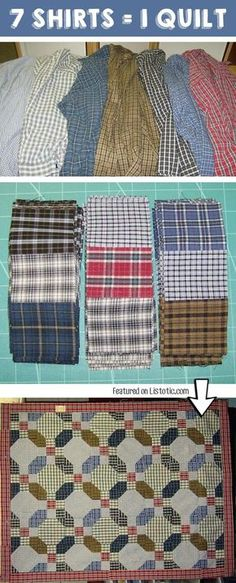 Easy Craft Ideas That Will Spark Your Creativity (DIY Projects For Adults) Make a quilt out of old shirts! -- 25 Genius Craft IdeasMake a quilt out of old shirts! Patchwork Quilting, Scrappy Quilts, Quilting Tips, Quilting Projects, Quilting Designs, Sewing Projects, Diy Projects, Sewing Tips, Sewing Men
