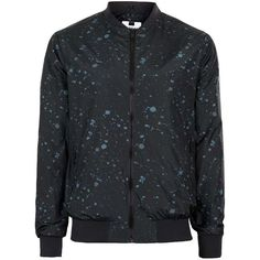 TOPMAN Black and Blue Paint Splat Bomber Jacket ($45) ❤ liked on Polyvore featuring men's fashion, men's clothing, men's outerwear, men's jackets, black, mens lightweight jacket, mens lightweight bomber jacket, mens light weight jackets, mens blue bomber jacket and mens blue jacket