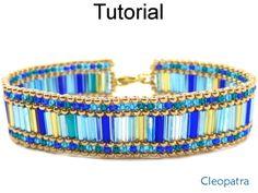 Cleopatra Beaded Peyote Stitch Bugle Bracelet Downloadbale PDF Beading Pattern Tutorial Instructions Directions | Simple Bead Patterns More