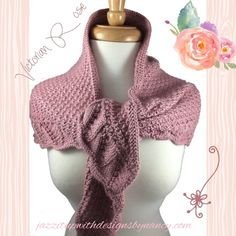 Beautiful and elegant Victorian Rose Shawl Neckwarmer Wrap ~~ #Handmade Knitted by @JazzitupwithDes