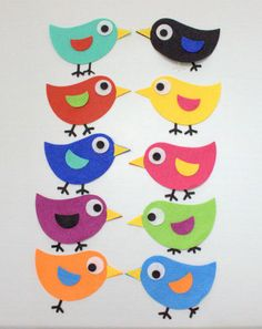 MIX 10 UCCELLINI IN FELTRO 10 MIXED FELT BIRDS DIE CUT