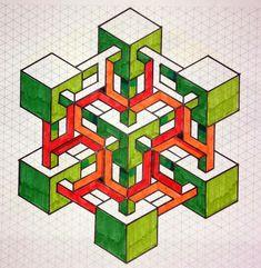 Impossible on Behance Isometric Paper, Isometric Drawing, Isometric Design, Graph Paper Drawings, Graph Paper Art, Art Drawings, Geometric Shapes Drawing, Geometric Quilt, Blackwork