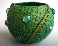 Candle Holder/ Vase/ Planter Polymer Clay in Shades of Green over Glass