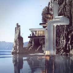 Cool 32 Enjoying Cliff House Design Ideas To Get Inspired You Architecture Unique, Concept Architecture, Futuristic Architecture, Interior Architecture, Pavilion Architecture, Sustainable Architecture, Residential Architecture, Futuristic Home, Cliff House