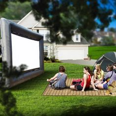LifeSmart Inflatable Outdoor Projector Movie Screen Portable Air Blown 16 ft Diagonal Package Huge Strong and Thick 600 DD Frame Built to Last -- Check this awesome product by going to the link at the image-affiliate link. Outdoor Projector Screens, Projection Screen, Outdoor Movie Screen, Giant Inflatable, Outdoor Entertaining, Indoor Outdoor, Electronics Accessories, Things To Come, Large Crowd