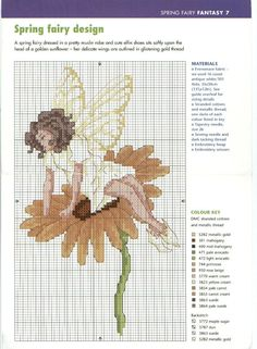 Cross-stitch Seasonal Fairies, part 2 - Spring. Fantasy Cross Stitch, Cross Stitch Fairy, Cross Stitch Angels, Cross Stitch Flowers, Cross Stitch Designs, Cross Stitch Patterns, Cross Stitching, Cross Stitch Embroidery, Stitch And Angel