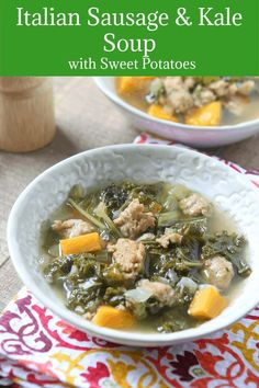This Italian Sausage and Kale Soup with Sweet Potatoes is hearty yet perfect for a light, healthy dinner. Paleo friendly and low carb. Healthy Slow Cooker, Healthy Low Carb Recipes, Slow Cooker Soup, Healthy Cooking, Best Crockpot Recipes, Cooker Recipes, Whole Food Recipes, Kale Recipes, Sweets Recipes
