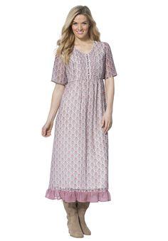 Pintuck Medallion Print Dress