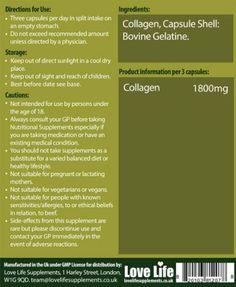 LOVE LIFE Reines Kollagenes | Kann Dazu Beitragen, Gesunde Haare Haut und Nägel pflegen | Erhöhen Sie die Elastizität und Festigkeit in Muskeln, Sehnen und Bänder | Natürlich enthält Glucosamin und Chondroitin, die helfen kann, um gesunde Gelenke zu unterstützen | 60 Kapseln | Premium GMP Zuschlag.: Amazon.de: Drogerie & Körperpflege