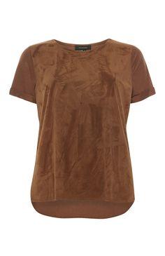 Primark - Roestkleurig T-shirt met suède voorpand