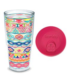 This Bright Aztec Pattern 24-Oz. Tumbler with Fuchsia Lid by Tervis is perfect…