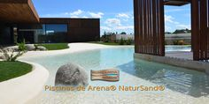 Pioneers in the construction of sand pools, a new concept of luxury swimming pools. NaturSand compacted sand pools. Beach-type swimming pools.