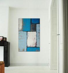 Large Abstract Schilderij Blue wonders Acrylic door RonaldHunter, $259,00