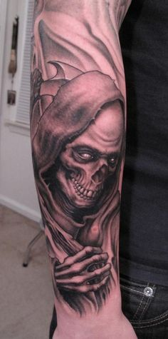 Grim Reaper Tattoo designs: Full Sleeve Grim Reaper Tattoo Design ~ lookmytattoo.com Men Tattoos Inspiration