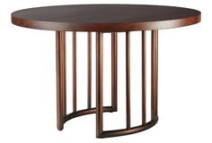 "Amie 48"" Round Dining Table, Brown"