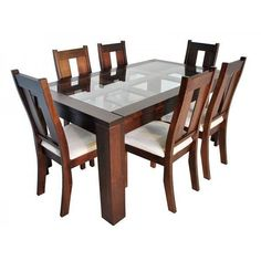 New Sweden Rectangular Dining Set (Schokolade) - Dinning Tables And Chairs, Wooden Dining Table Designs, Dining Room Furniture Design, 4 Seater Dining Table, Dinning Table Design, Glass Dining Room Table, Dinning Set, Home Decor, Primitive Dining Rooms
