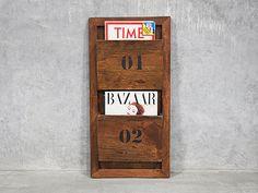 Wooden Hanging Magazine Rack - Mounted Newspaper Holder